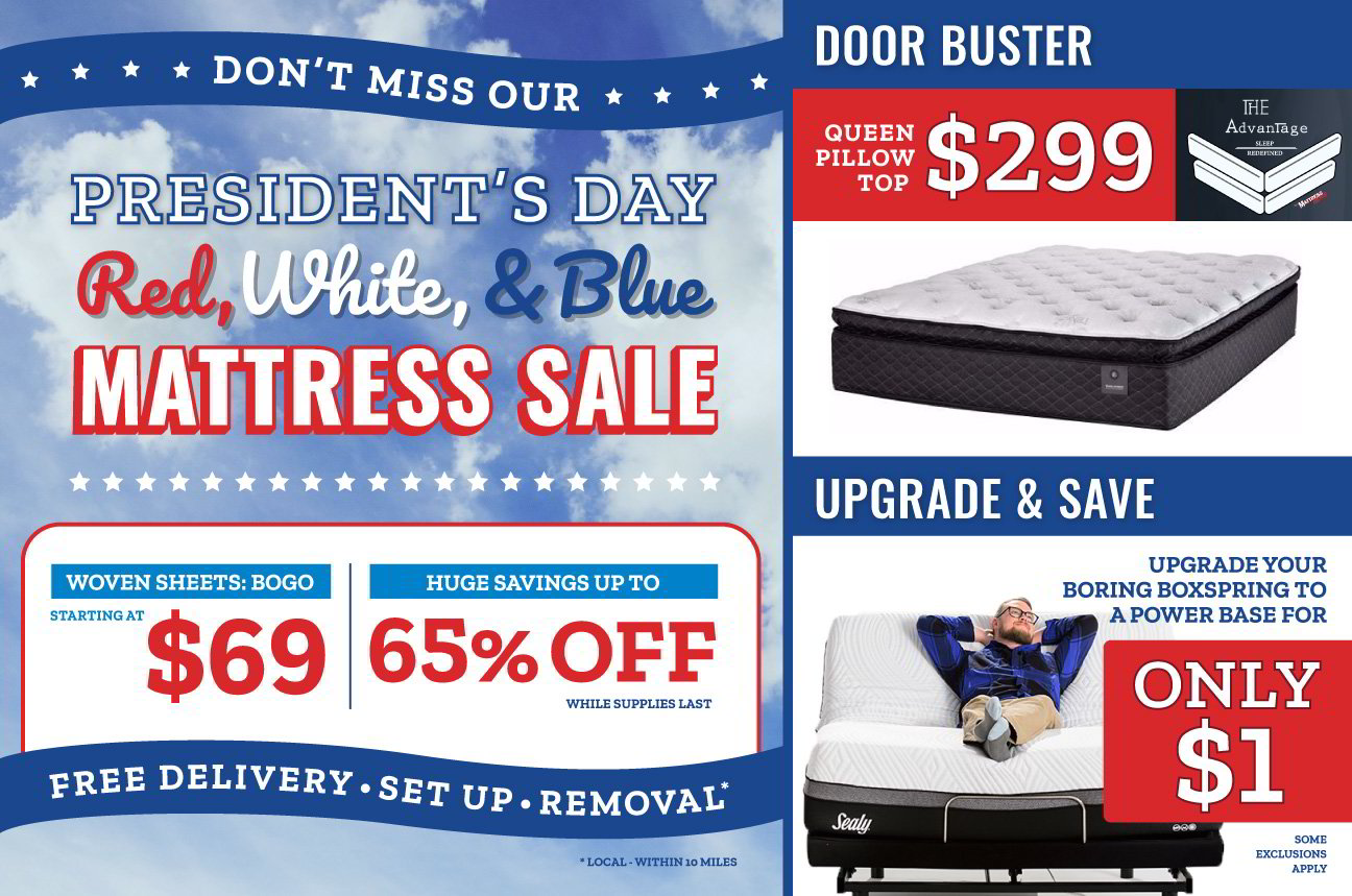 Dont miss our President's day red white, and blue Mattress Sale! Promotional  Image