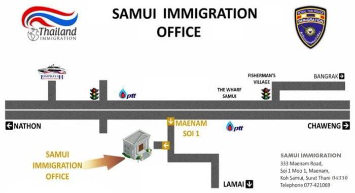 Immigration Office Koh Samui Map