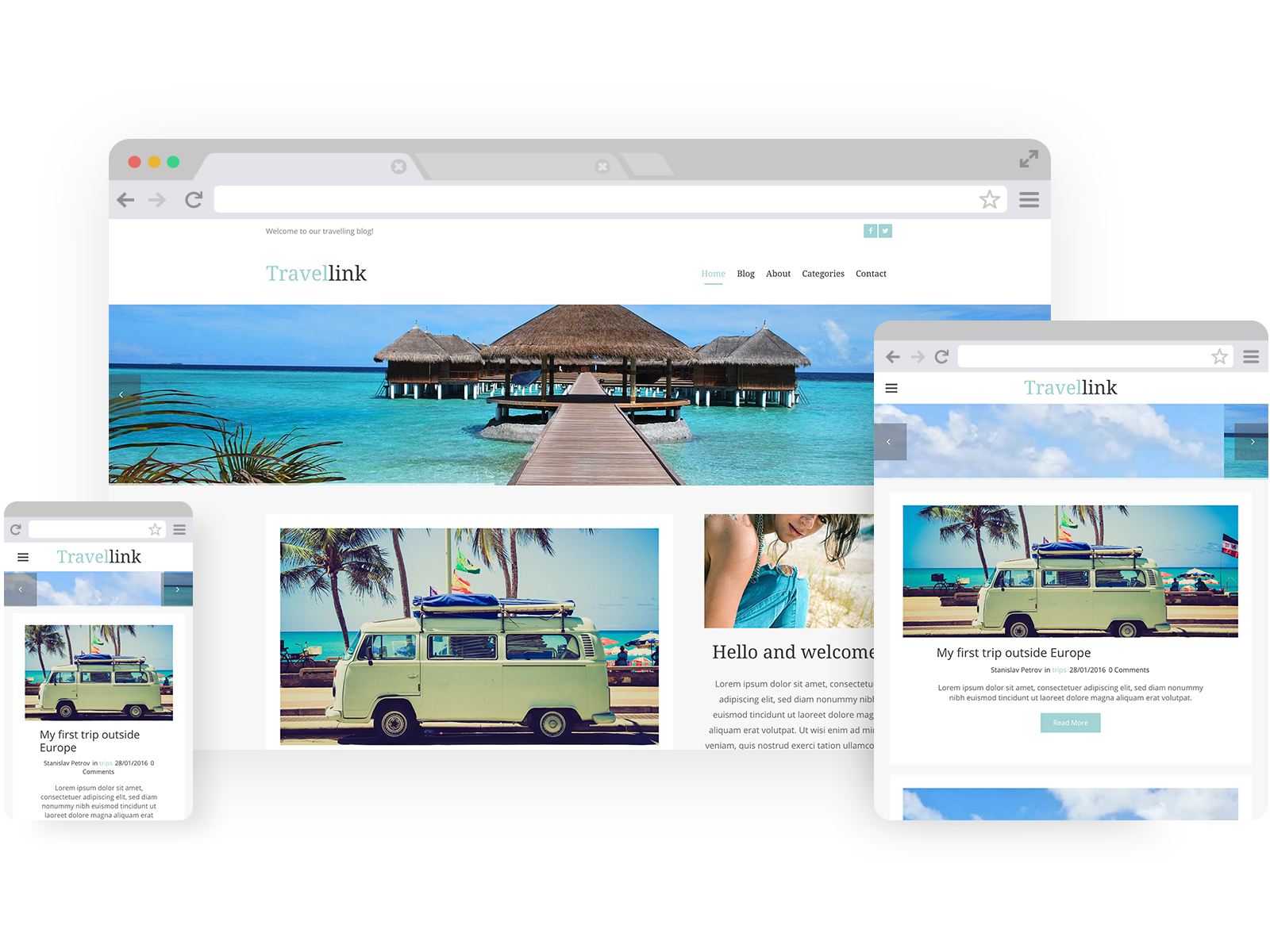 Travel Agency templates - template shown on Desktop, Tablet, and Mobile views.