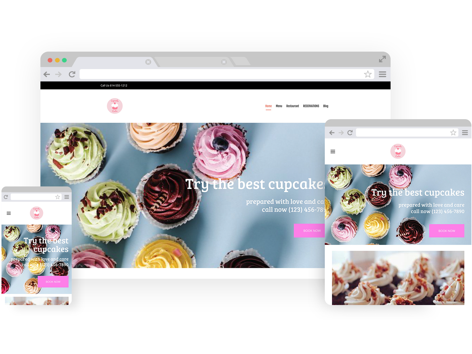 Cupcake bakery templates - template shown on Desktop, Tablet, and Mobile views.