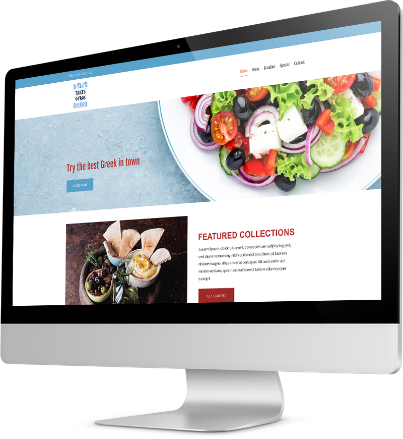 Greek restaurant template Desktop view of a Template