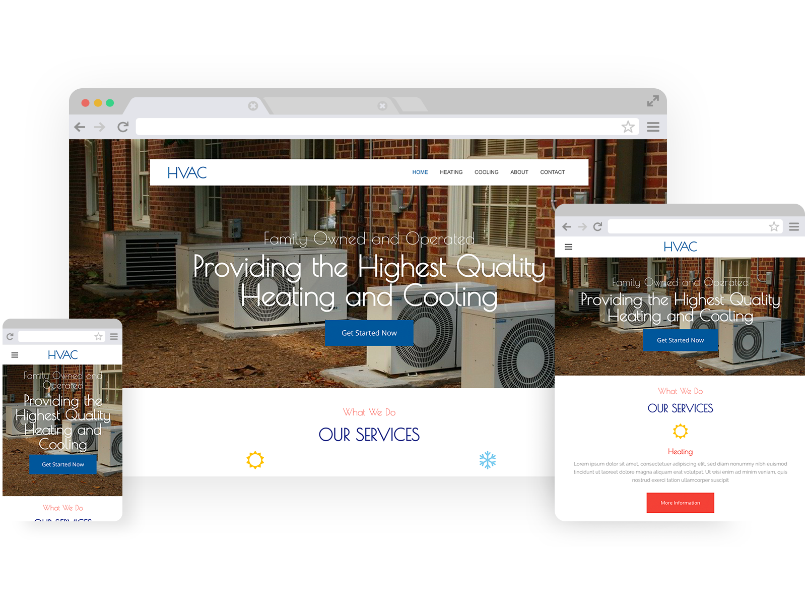 HVAC templates - template shown on Desktop, Tablet, and Mobile views.