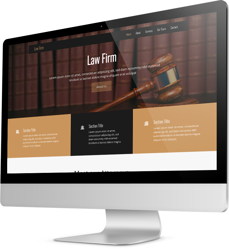 Law firm website template Desktop view of a Template