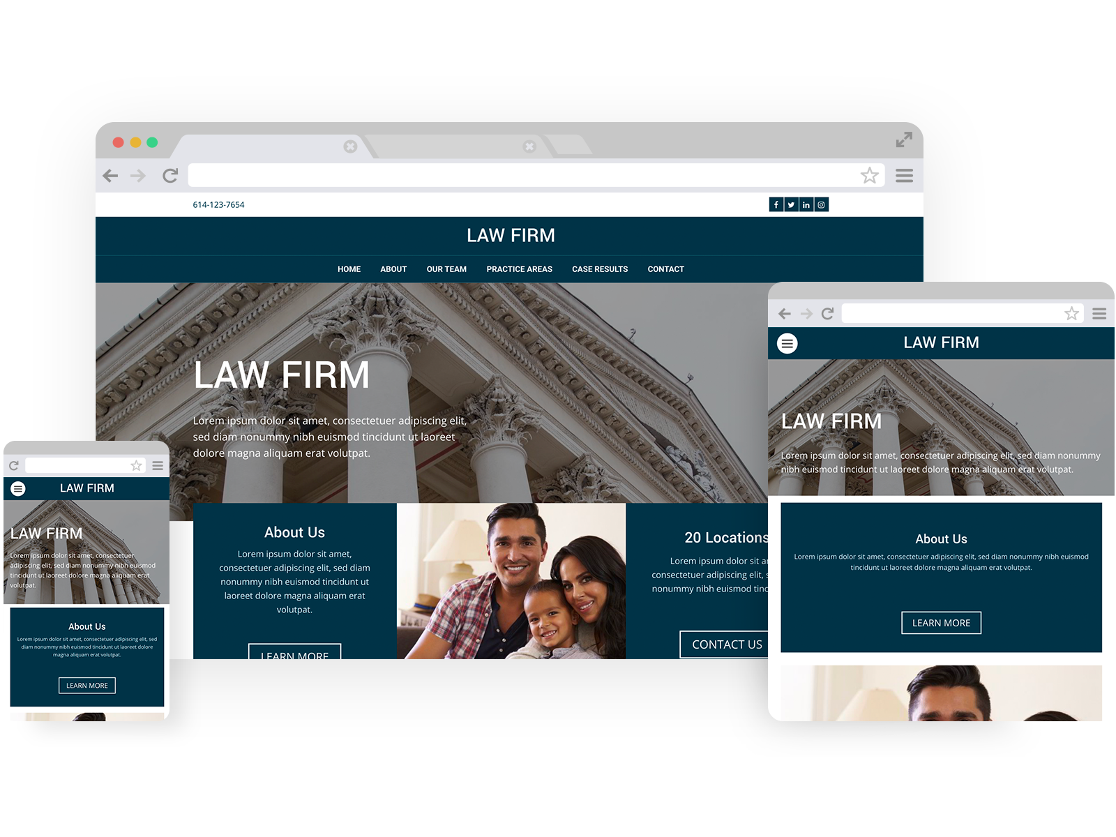 Law firm templates - template shown on Desktop, Tablet, and Mobile views.