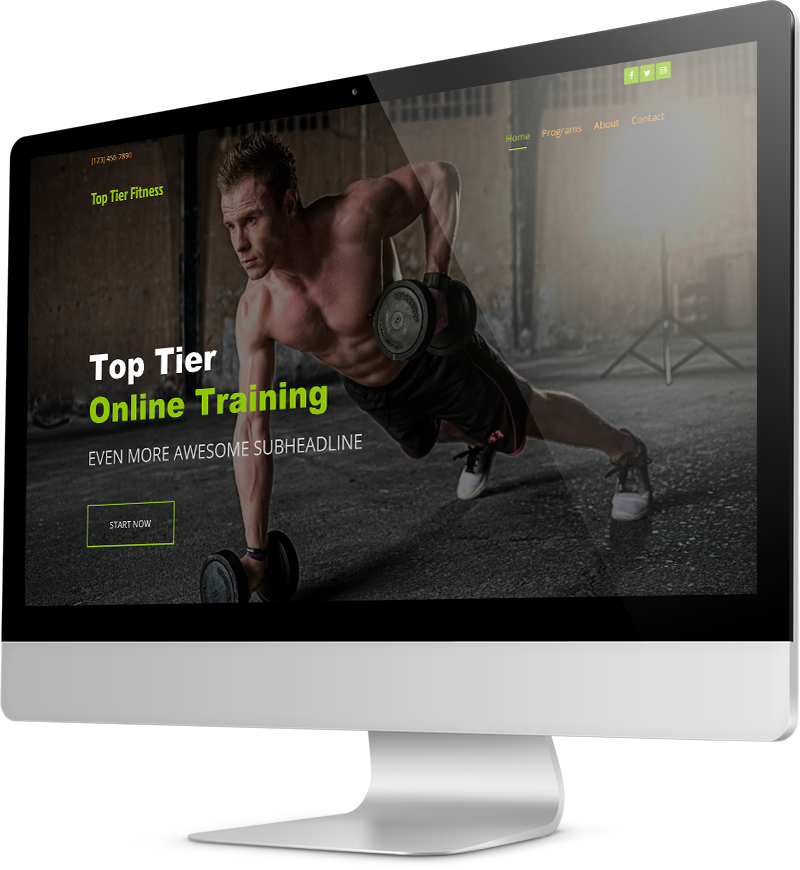 Personal trainer website template Desktop view of a Template