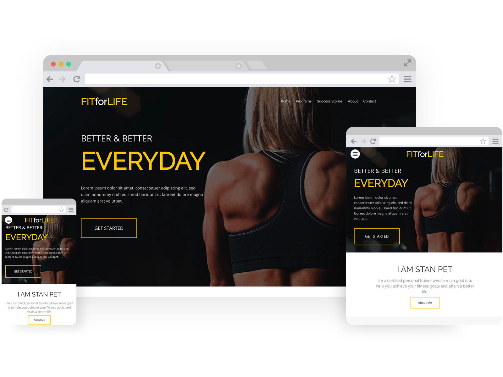 Personal trainer templates - template shown on Desktop, Tablet, and Mobile views.