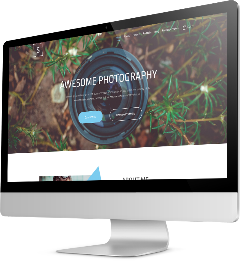 Photography website template Desktop view of a Template