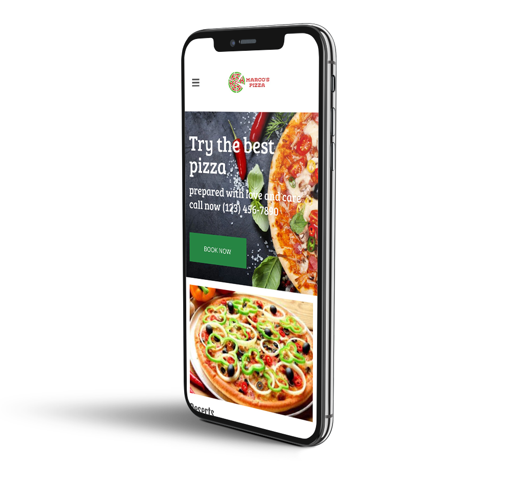 Pizza restaurant mobile design