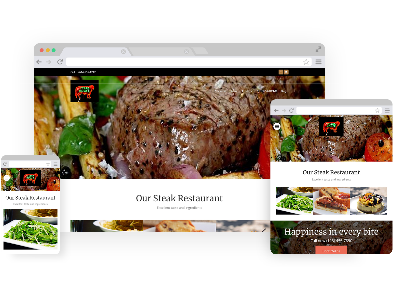 Steak house templates - template shown on Desktop, Tablet, and Mobile views.
