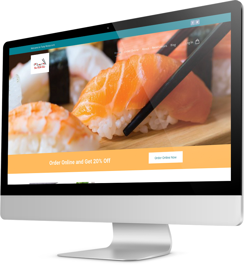 Sushi restaurant template Desktop view of a Template