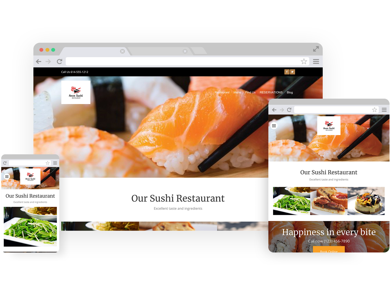 Sushi restaurant templates - template shown on Desktop, Tablet, and Mobile views.