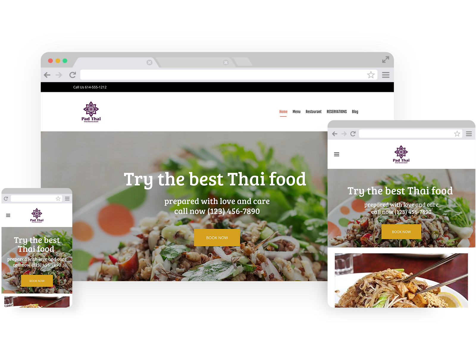 Thai restaurant templates - template shown on Desktop, Tablet, and Mobile views.