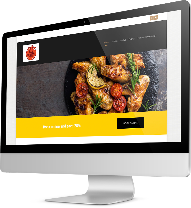 Wing restaurant template Desktop view of a Template