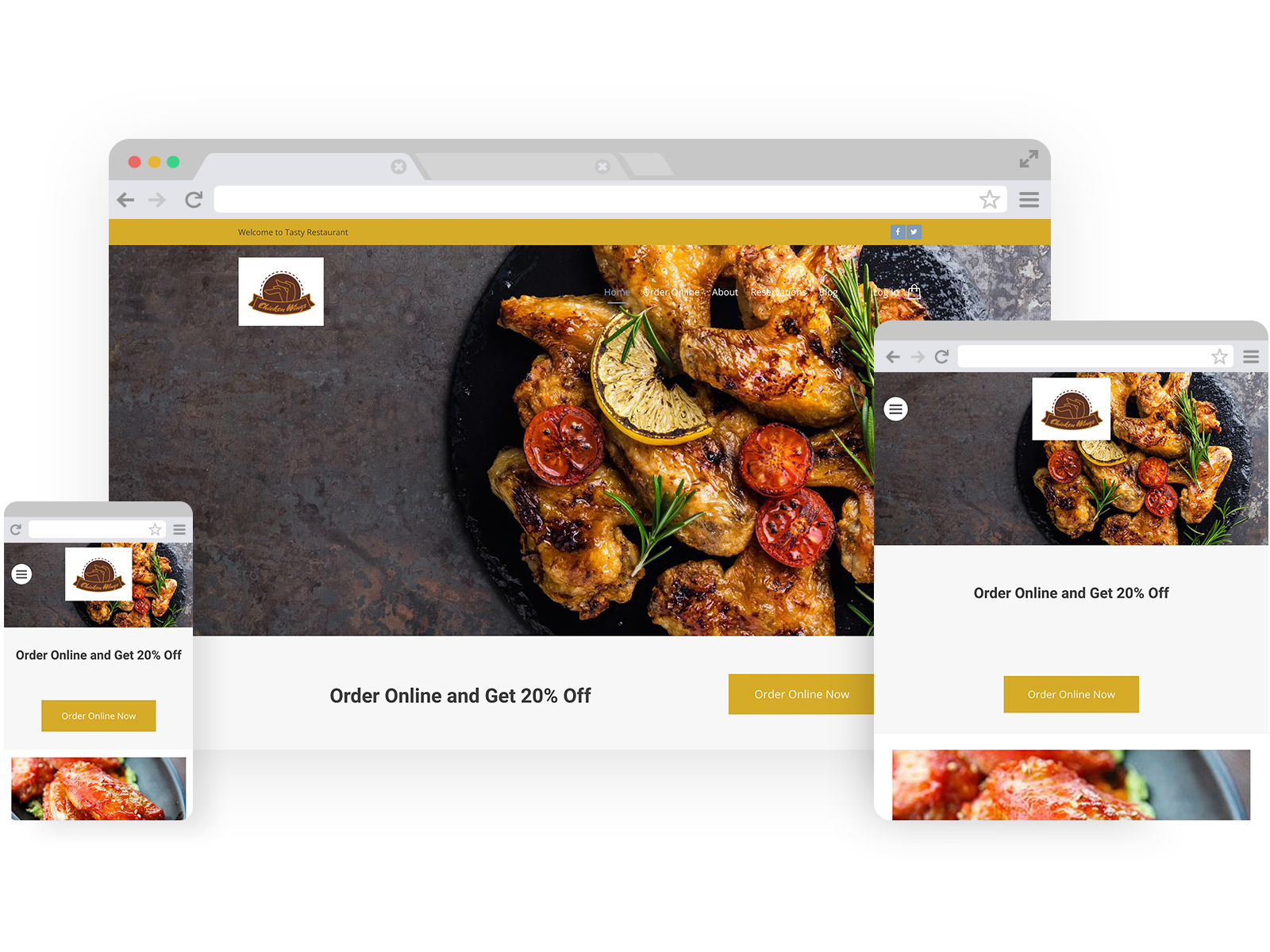 Wing restaurant templates - template shown on Desktop, Tablet, and Mobile views.