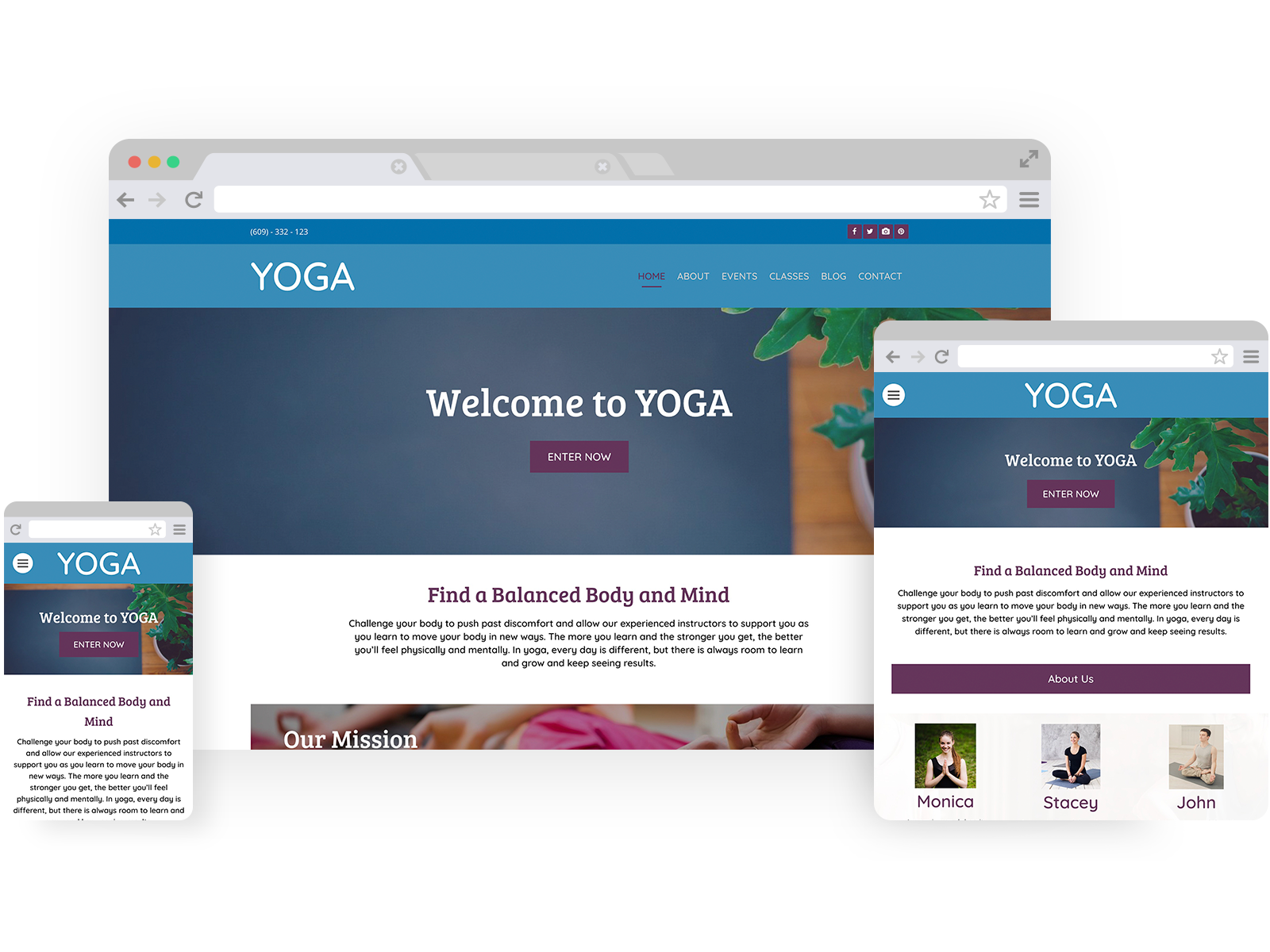 Yoga templates - template shown on Desktop, Tablet, and Mobile views.