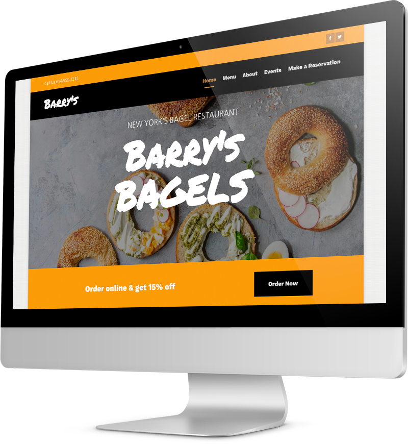 Bagel shop template Desktop view of a Template