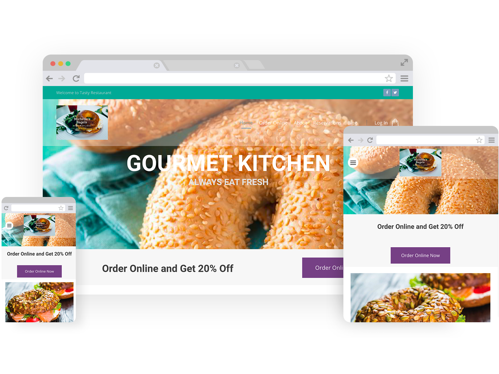 Bagel shop templates - template shown on Desktop, Tablet, and Mobile views.