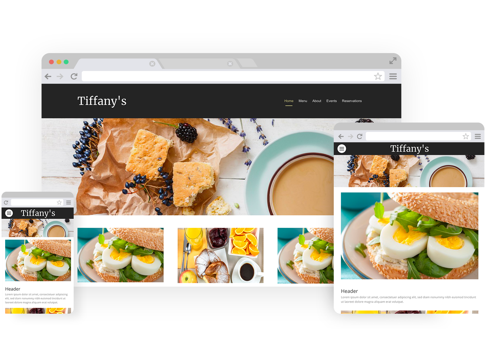 Breakfast restaurant templates - template shown on Desktop, Tablet, and Mobile views.