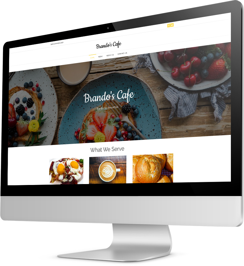 Cafe website template Desktop view of a Template
