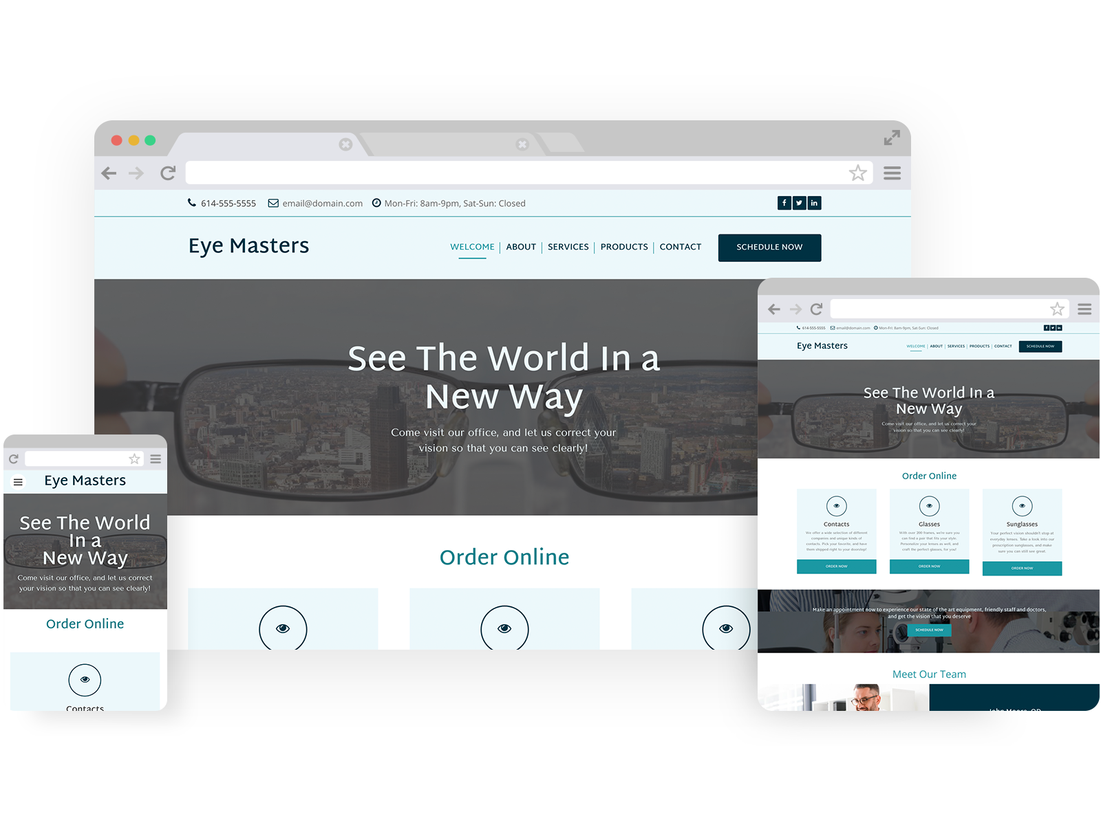 Eye care templates - template shown on Desktop, Tablet, and Mobile views.
