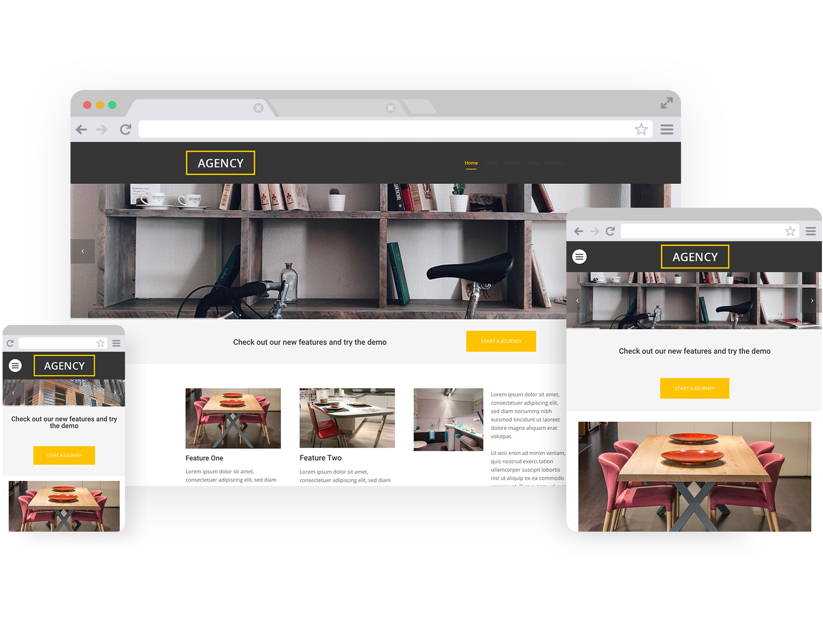 Interior design templates - template shown on Desktop, Tablet, and Mobile views.