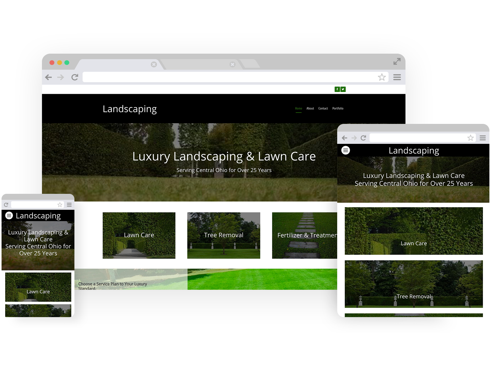 Landscaping templates - template shown on Desktop, Tablet, and Mobile views.