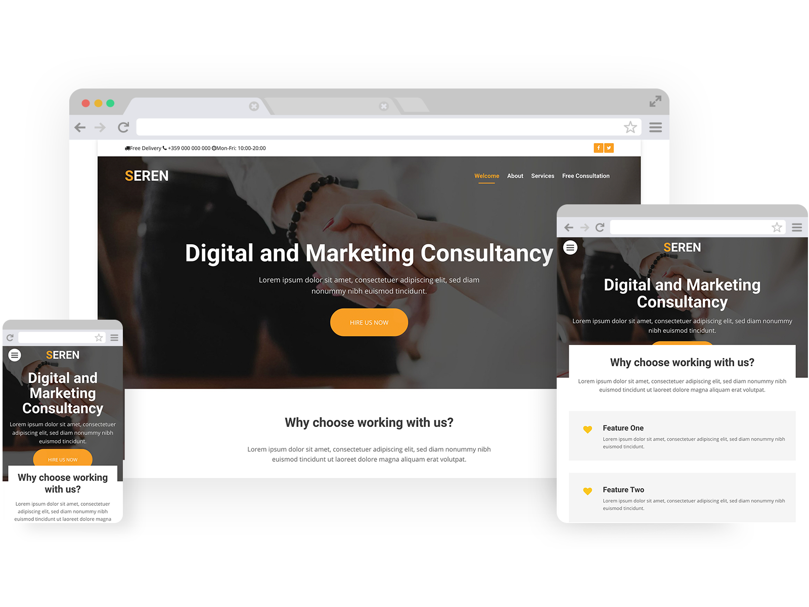 Digital marketing templates - template shown on Desktop, Tablet, and Mobile views.