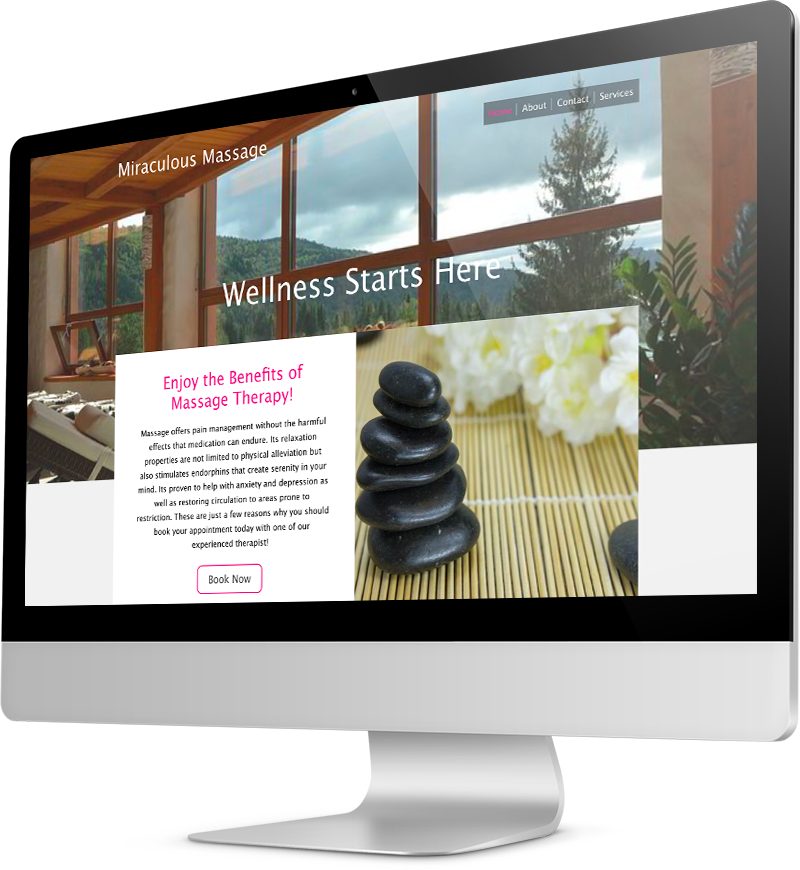 Massage therapist website template Desktop view of a Template