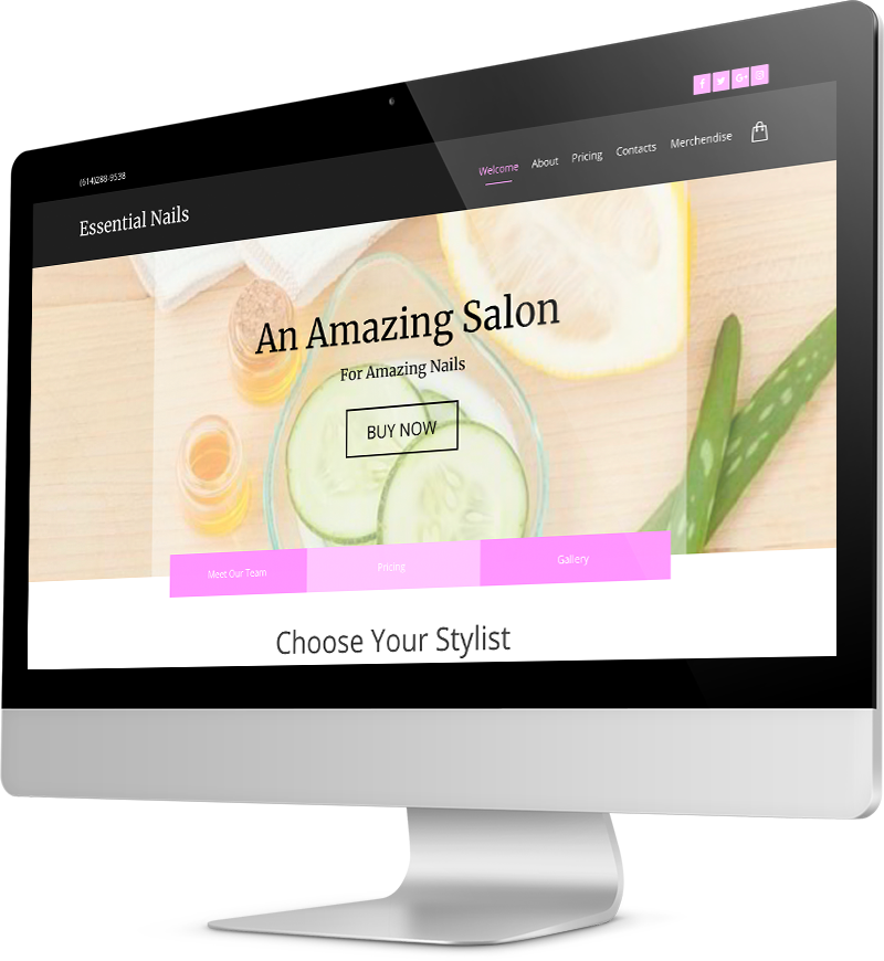 Nail salon website template Desktop view of a Template
