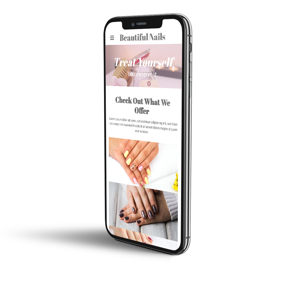 Nail salon website mobile template