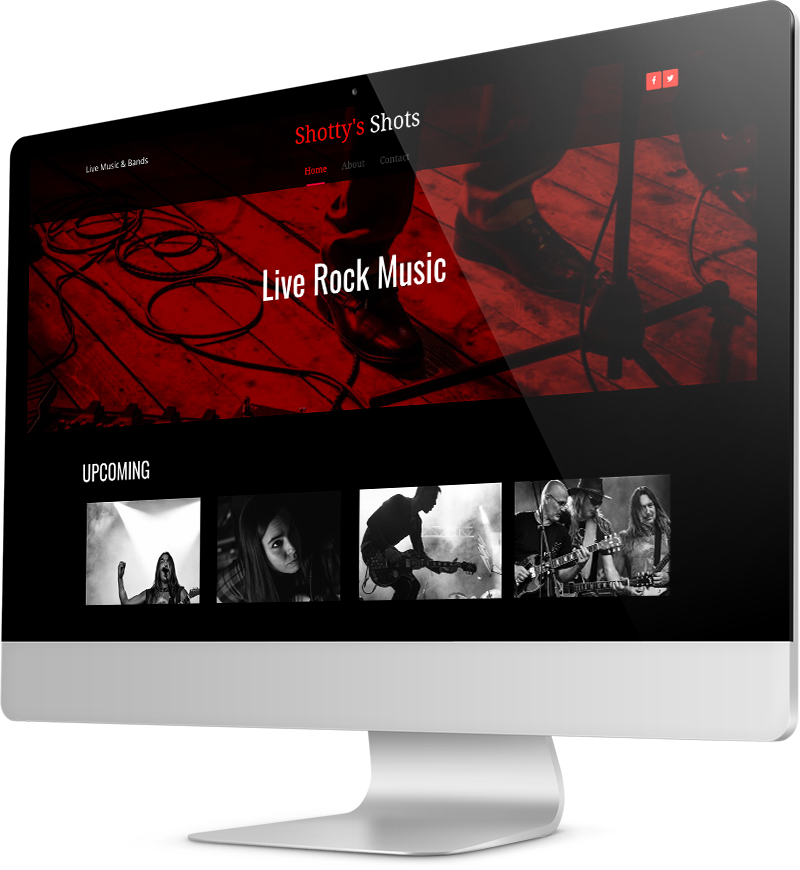 Night club website template Desktop view of a Template