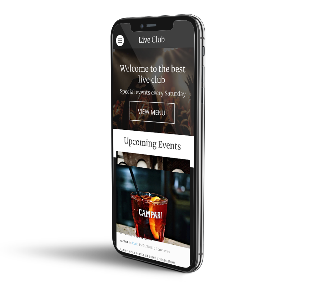 Night club website mobile template