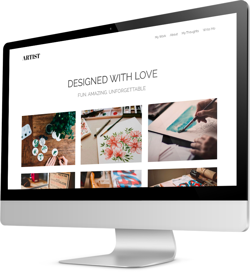 Personal website template Desktop view of a Template
