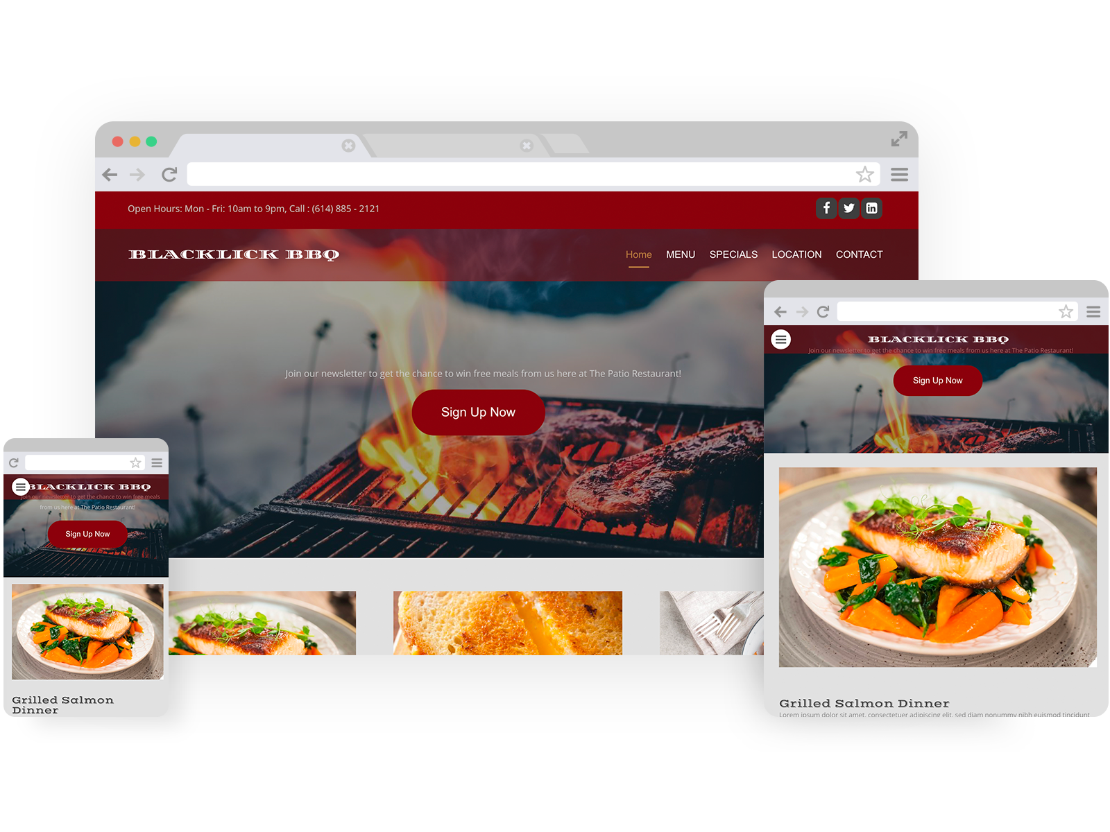 Restaurant templates - template shown on Desktop, Tablet, and Mobile views.