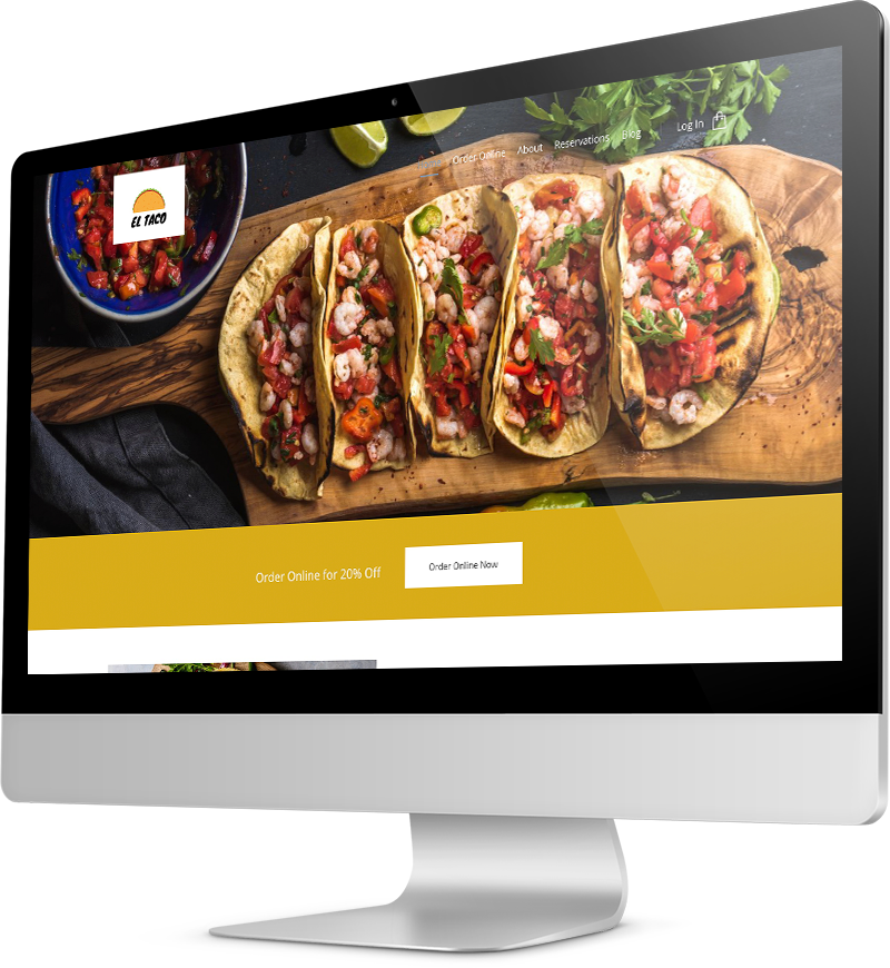 Taco restaurant template Desktop view of a Template