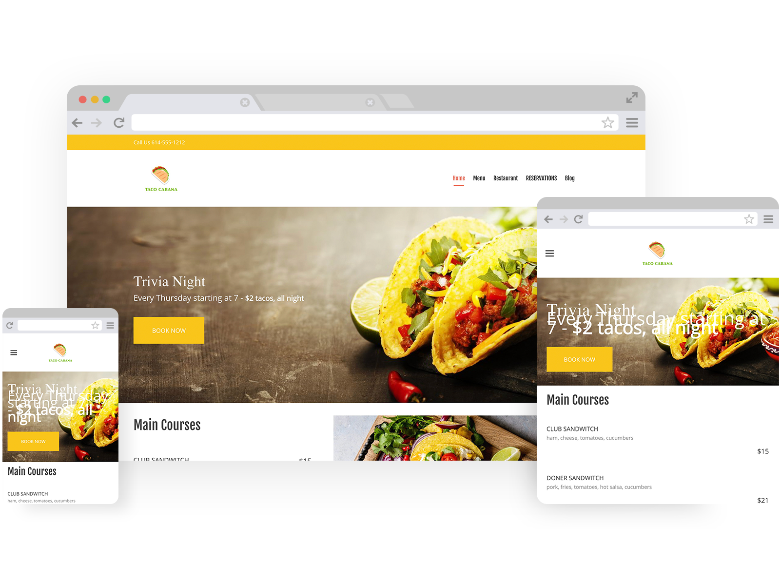 Taco restaurant templates - template shown on Desktop, Tablet, and Mobile views.