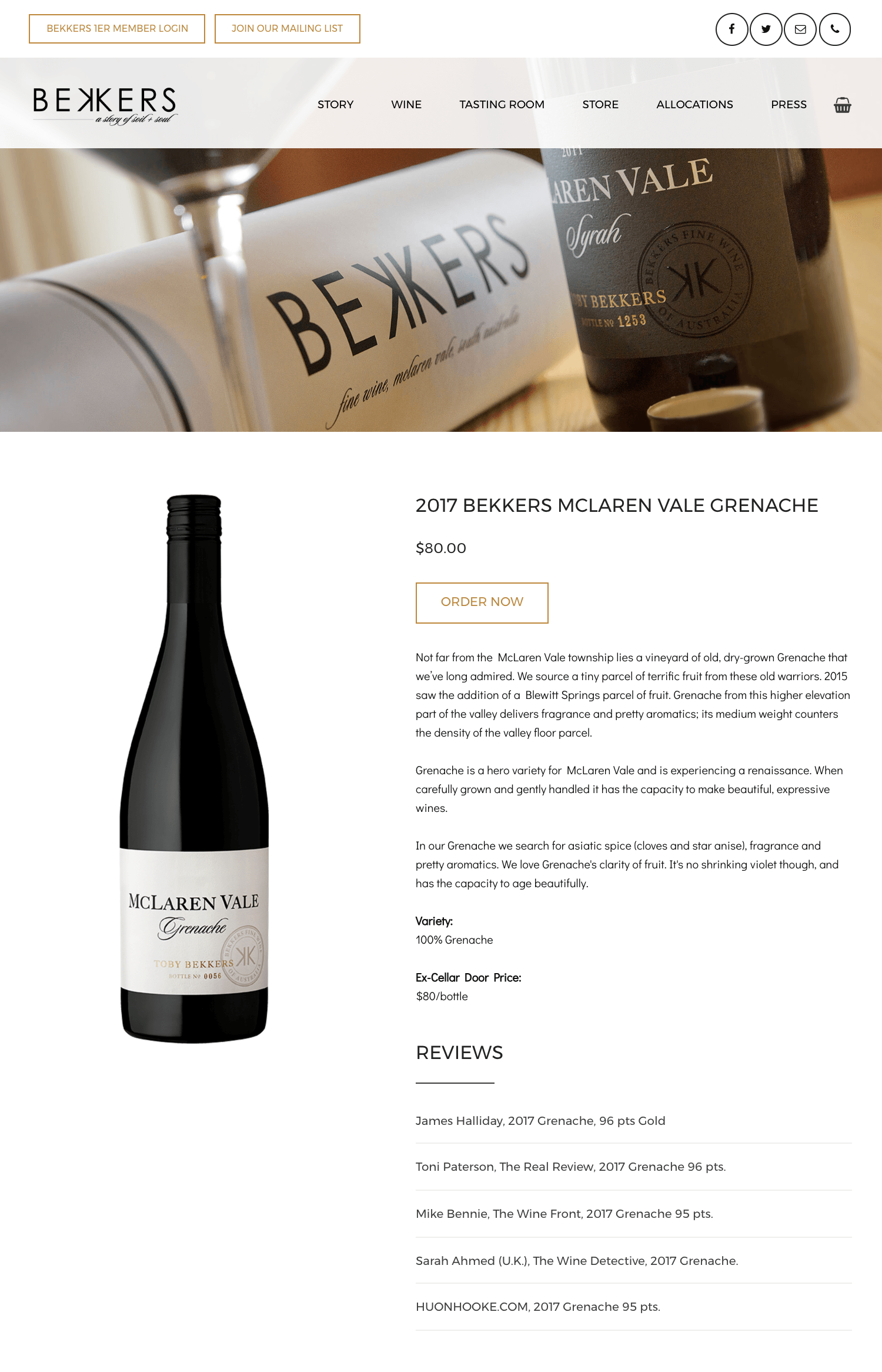 Bekkers Wine website by Website Serious