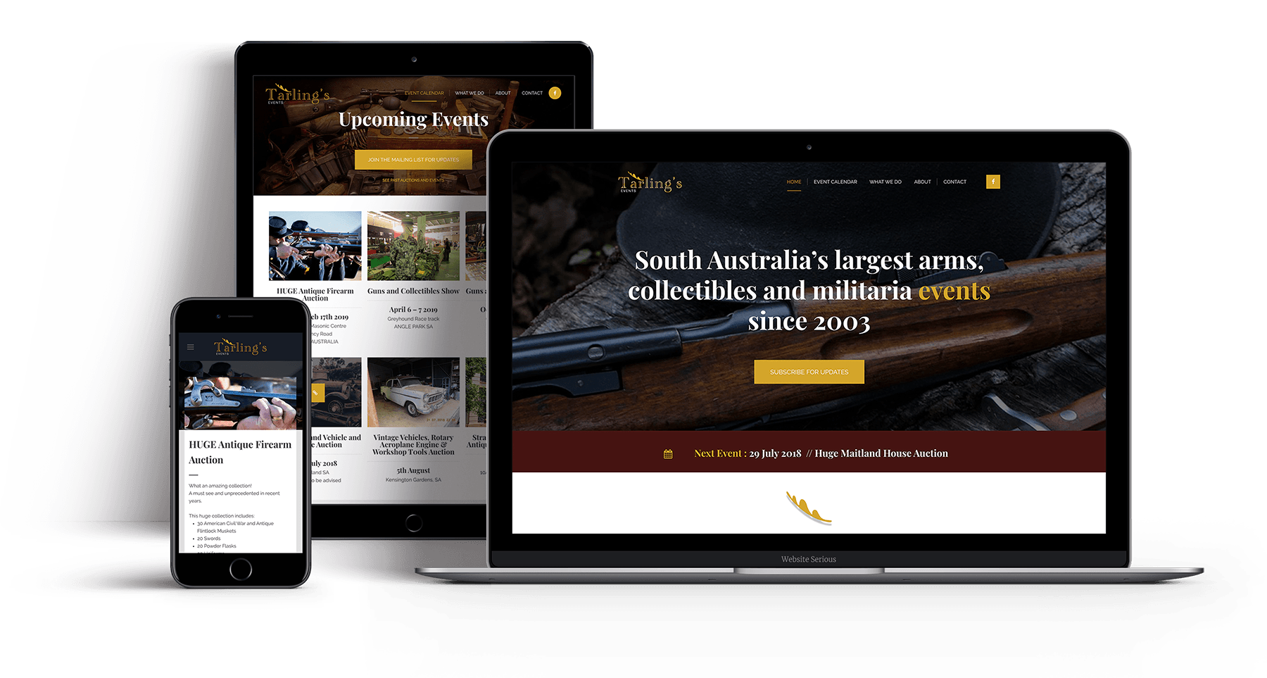 Tarlings Events website by Website Serious