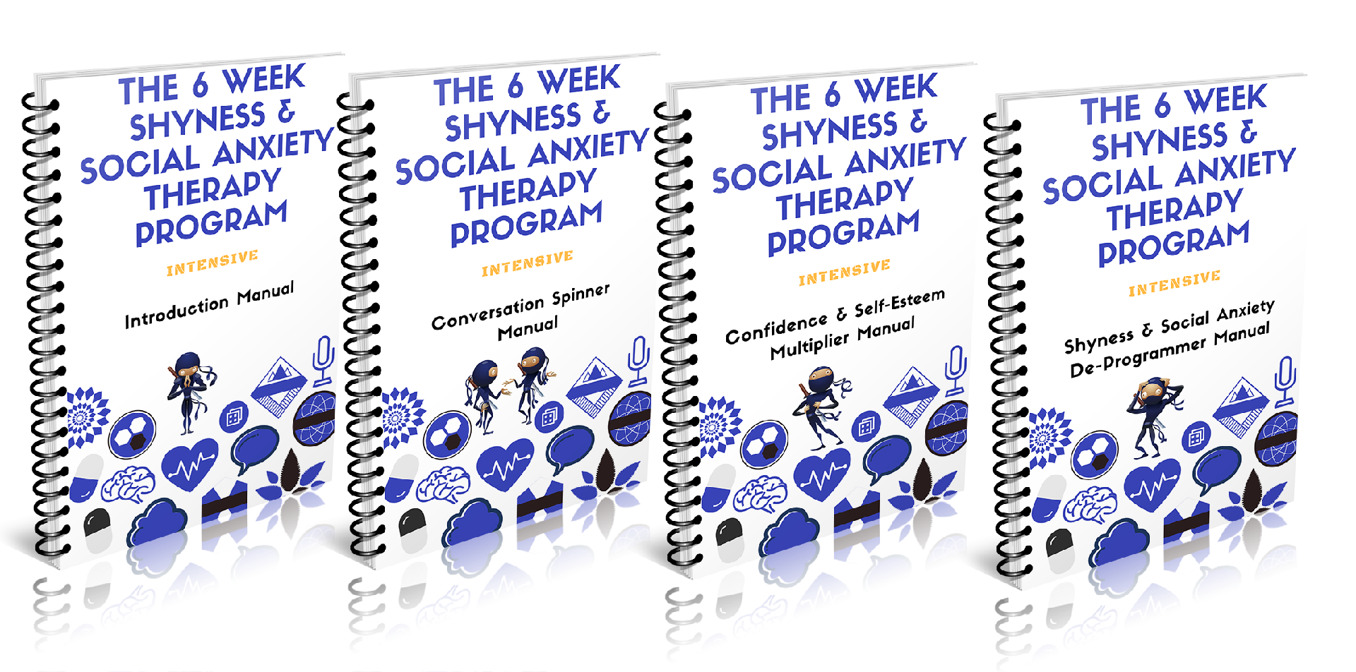 a combination image of the four manuals of the 6 week shyness and social anxiety therapy program about how to overcome social anxiety and shyness