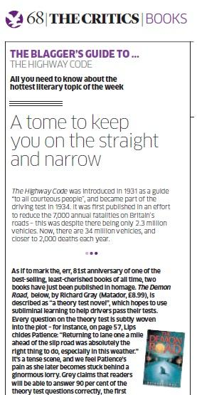 review of pass your theory test in a day from the independant on sunday when the book was known as the demon road