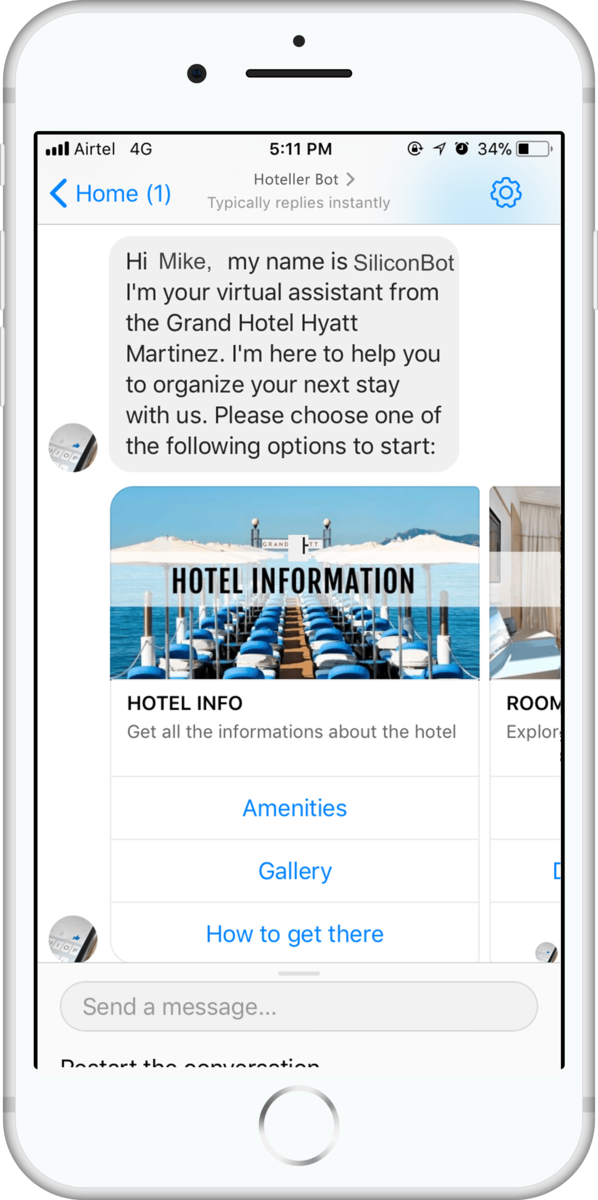 Facebook Silicon ChatBot for your hotel
