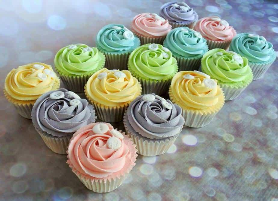 Pastal Cupcakes Decorated With Buttons