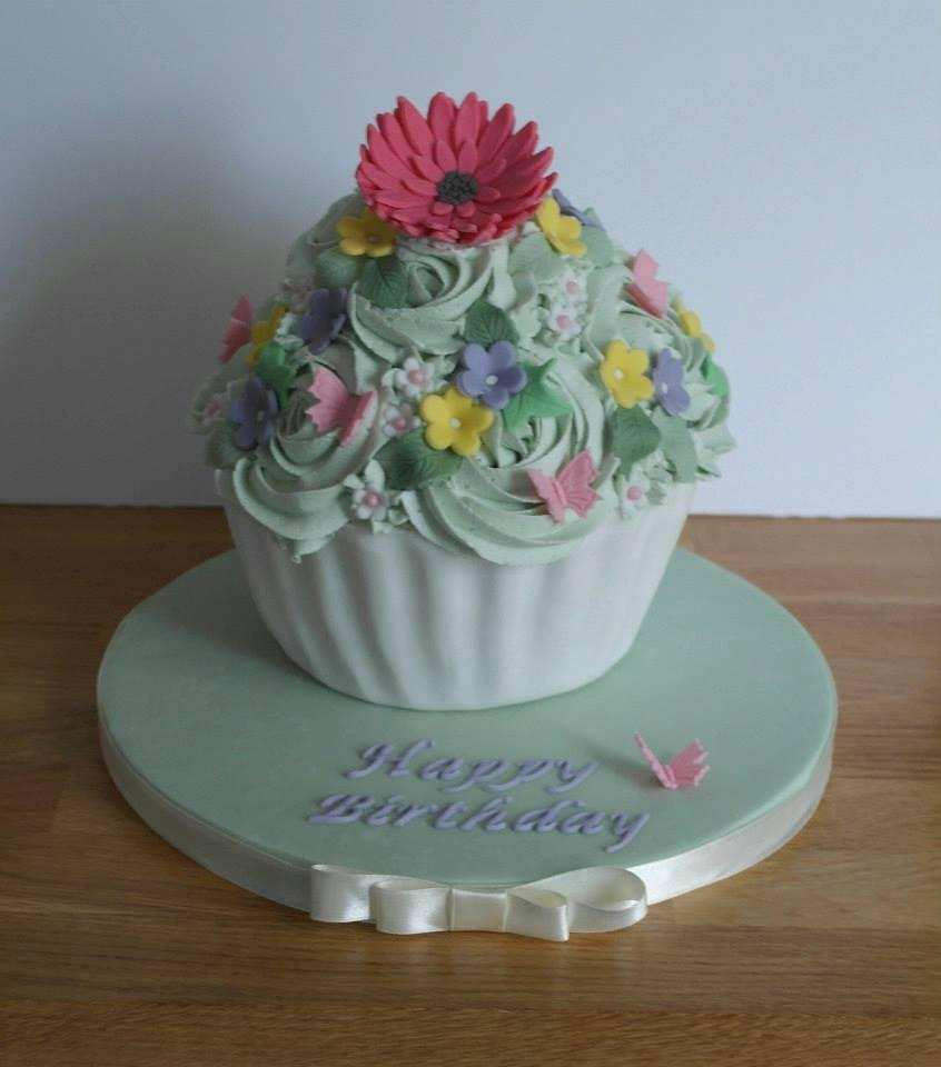 Garden Themed Giant Cupcake