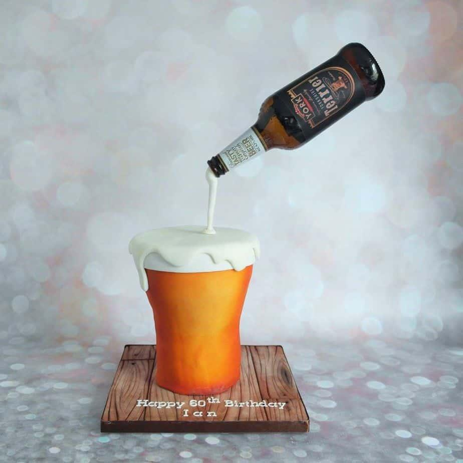 Gravity Defying Beer Pouring Novelty Cake