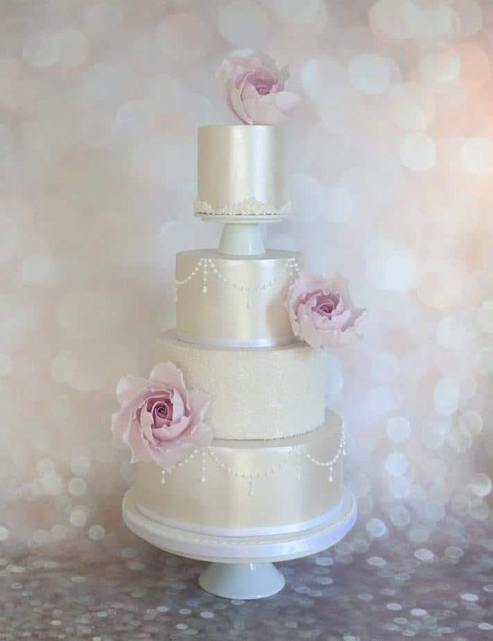 Lustre and Large Pink Roses Wedding Cake