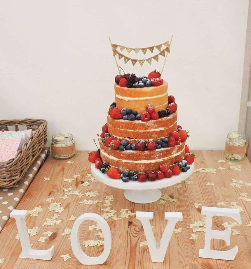 Naked Wedding Cake Decorated With Summer Fruits