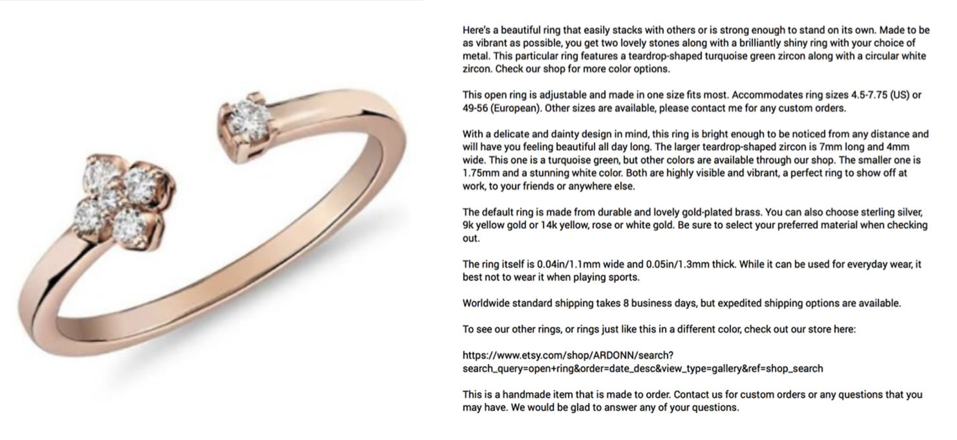 ring product description example for etsy