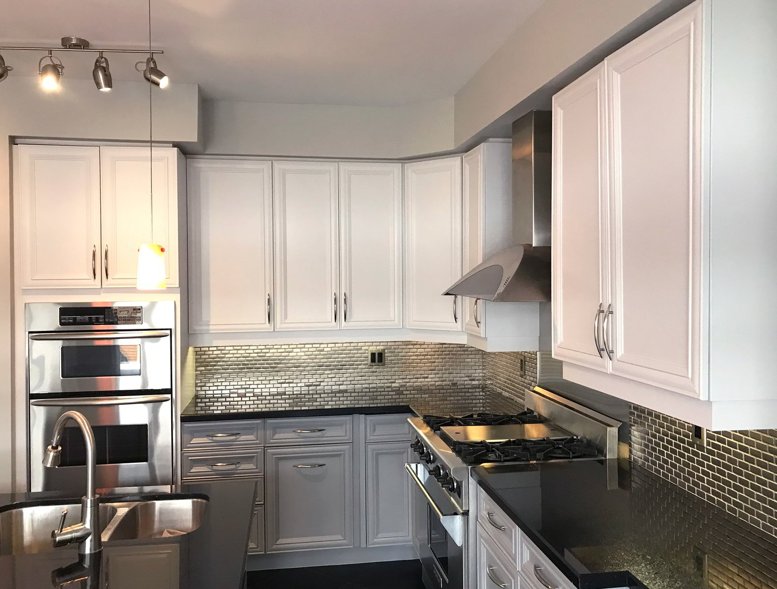 Newly painted white kitchen cabinets