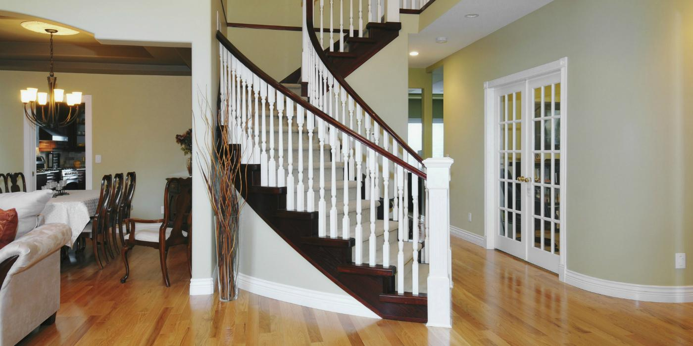 Newly painted beautiful curving staircase in a home