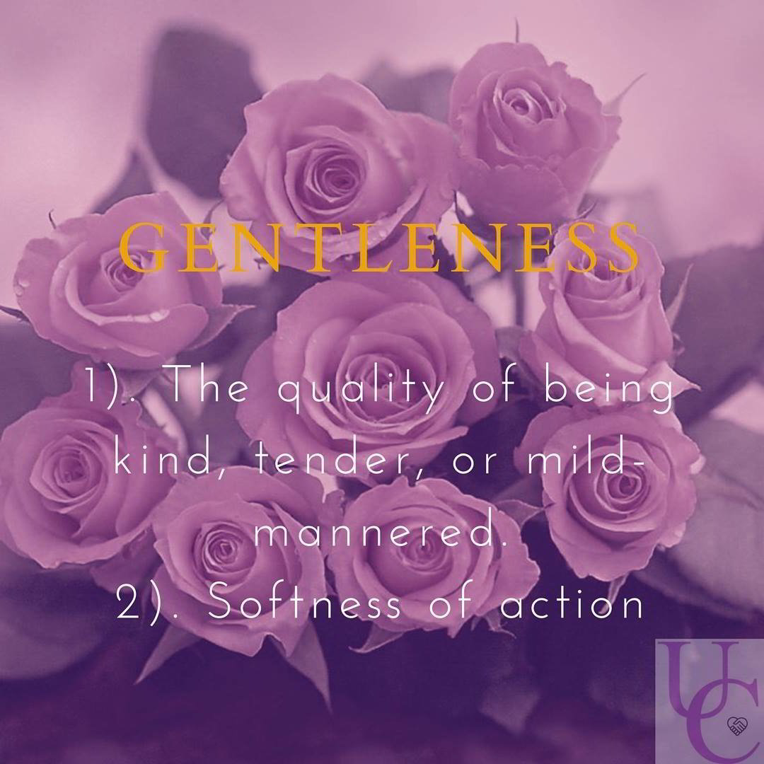 Gentleness – the quality of being kind, tender, or mild-mannered (softness of action)